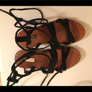 Topshop black leather boho / gladiator sandals